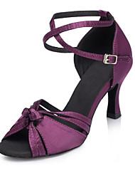Customizable Women's Dance Shoes Latin / Jazz / Swing Shoes / Salsa / Samba Satin Customized Heel Green / Purple