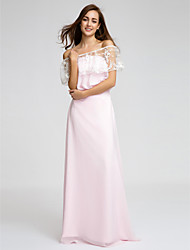 Lanting Bride Floor-length Chiffon Bridesmaid Dress Sheath / Column Strapless with