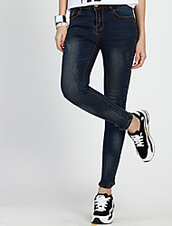Women's Solid Blue Jeans Pants , Sexy / Casual / Day