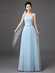 Floor-length Tulle Bridesmaid Dress-Lilac / Pearl Pink / Champagne / Silver / Sky Blue Sheath/Column One Shoulder