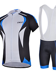 CHEJI Men Bib Short Sleeve Cycling Jersey 3D Pad Bib Shorts