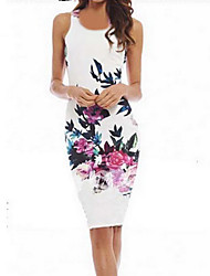 Women's Print Bodycon Crew Neck Micro Elastic Sleeveless Above Knee Plus Size Dress