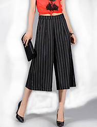 Women's Striped White / Black Loose 9/10 Wide Leg Pants , Casual / Day / Simple