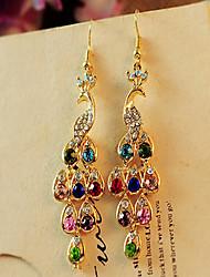 Women's Drop Earrings Bohemian Costume Jewelry Cubic Zirconia Rhinestone Gold Plated Peacock Jewelry For