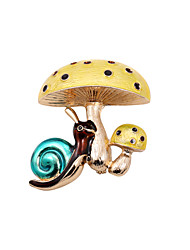 Fashion Women Cute Enamel Mushroom And Snail Brooch(pack with gift bag)