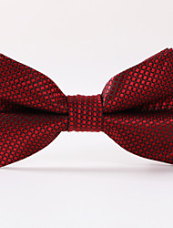 Wine Red Plaid Bow Tie