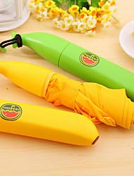 Mini Banana Shaped Rain Umbrella Portable Folding Parasol (Random Color)