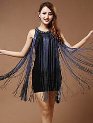Performance Dresses Women's Performance Polyester Tassel(s) 1 Piece Blue / Fuchsia / White And Silver / Almond