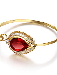 Fshion Party Accessories 18K Gold Plated Cuff Bangle Red Cubic Zirconia Bracelets & Bangles For Women