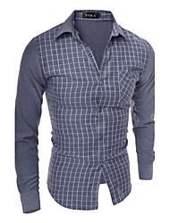 Masculino Camisa Social Casual Simples Primavera / Outono,Sólido / Colorido Azul / Cinza Algodão / Poliéster Colarinho de CamisaManga