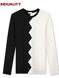 Trenduality® Hombre Escote Redondo Manga Larga Camiseta Negro y Blanco - 43265