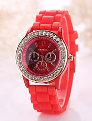 Mulheres Relógio de Moda Relógio Casual Quartzo Borracha Banda Brilhante Preta Branco Azul Vermelho Laranja Marrom Verde RosaFúcsia