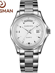 EASMAN Brand Authentic Mens Classic White Lrage Date Day Show Business Style Luxury Watches Best Watch for Men