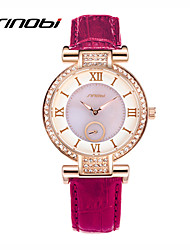 SINOBI® Women's Fashion Diamond Quartz Watches Purple Leather Rose Gold Case Brand Female's Bracelet Wristwatches Reloj Cool Watches Unique Watches