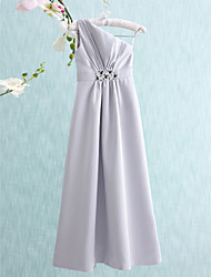 Floor-length Satin Junior Bridesmaid Dress Sheath / Column One Shoulder with Beading / Side Draping