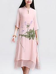 Mulheres Vestido Solto / Reto Vintage Floral / Patchwork Médio Colarinho Chinês Algodão / Linho