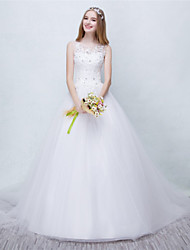 Ball Gown Wedding Dress Court Train Scoop Tulle with Beading / Lace