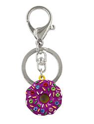 Fashion Cute Rhinestone Set Metal Donuts Key Ring/Handbag Accessory