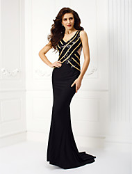 Formal Evening / Black Tie Gala Dress - Beautiful Back Trumpet / Mermaid Square Court Train Jersey with Lace