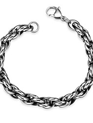 Maya Fashion Generous Personality Compact Style Rope Men Stainless Steel Chain & Link Bracelets(Black)(1Pc)