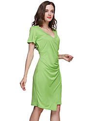 Hot Sale Women's Sexy / Casual / Day Solid Sheath Dress , V Neck Knee-length Cotton / Polyester Slim Fit Dress