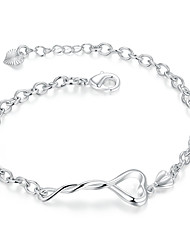 Lureme® Silver Plated Jewelry Twisted Heart Link Chain Bracelets for Women Christmas Gifts