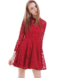 Women's Casual/Daily A Line Dress,Solid Round Neck Above Knee Long Sleeve Red Polyester Summer
