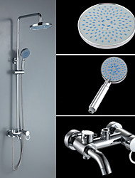 Shower Faucet Contemporary Brass Chrome Shower Set with Shower Head and Hand Showe