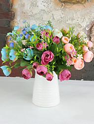 10 têtes camélia fleurs fleur de soie fleurs de soie fleurs artificielles pour kit de fleurs de décoration à domicile 1pc / set