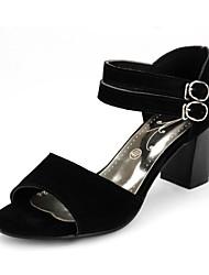 DamenKleid-Leder-Blockabsatz-Vorne offener Schuh-Schwarz