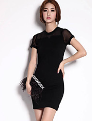 Women's Casual / Day Solid Sheath Dress , Round Neck Mini Polyester