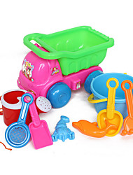 9-Pieces Beach Sand Toys Set with Truck, Bucket, Water Pot, 4 Hand Tools and 2-Models