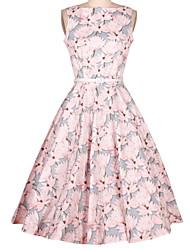 De las mujeres Vaina Vestido Bonito Floral Midi Escote Redondo Algodón