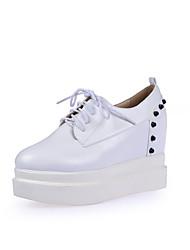 Черный / Красный / Белый-Женская обувь-Для офиса / Для праздника / Для вечеринки / ужина-Дерматин-На платформе-На танкетке / На платформе-