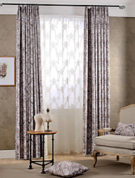 Two Panels Country Botanical Green / Coffee Bedroom Polyester Blackout Curtains Drapes
