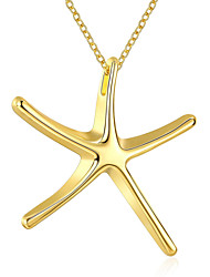 Trendy Starfish Pendant Necklace Women's Animal Jewelry Gold Plated Chain Necklace(Color:Gold)