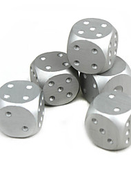 Exquisite Aluminum Alloy Dice Silver 5 PCS