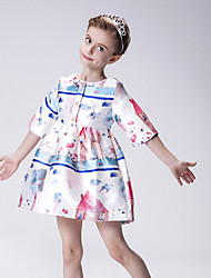 Girl's Pink Dress , Floral Cotton / Polyester Summer / Spring / Fall
