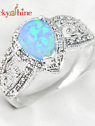 Lucky Shine Women's Men's Unisex Silver Classic Rings With Gemstone Fire Drop Blue Opal Crystal Mother Father Gift