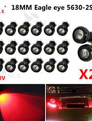 conduit aigle diurne des yeux la lumière de sauvegarde en cours d'exécution DRL brouillard voiture auto 12v rouge 18mm 9w x 20