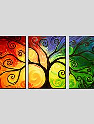 Peint à la main A fleurs/BotaniqueModern / Classique / Style européen Trois Panneaux Toile Peinture à l'huile Hang-peint For Décoration