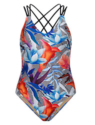 New Women's Halter One-pieces / Cover-Ups , Color Block / Geometric Wireless Polyester / Spandex Multi-color
