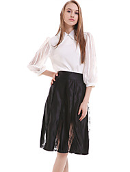 Women's Solid White / Black Skirts,Work / Simple Knee-length