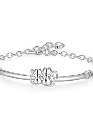Fresh Lovely  Women's Double Cats Silver Plated Brass Chain & Link Bracelet(Silver)(1Pc)