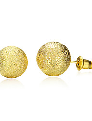 18K Gold Plated Stud Earrings 0.8cm Frosted Round Earring with Back Stoppers Fashion Jewelry(Color:Gold)