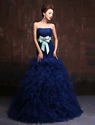 Formal Evening Dress - Dark Navy Ball Gown Strapless Floor-length Tulle / Charmeuse