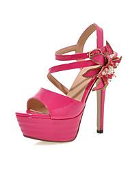 Women's Shoes Patent Leather Stiletto Heel Slingback / Open Toe Sandals Dress Black / Pink / White / Silver