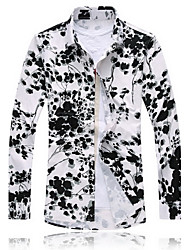 Men's Fashion Leisure Long Sleeved Printed Shirt (cotton) Plus Sizes