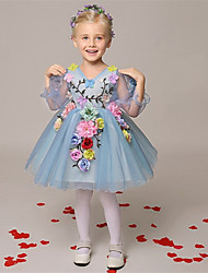 A-line Short / Mini Flower Girl Dress - Organza V-neck with Flower(s)