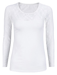 Women's Going out Sexy / Street chic Blouse,Solid Round Neck Long Sleeve White / Black Cotton Medium